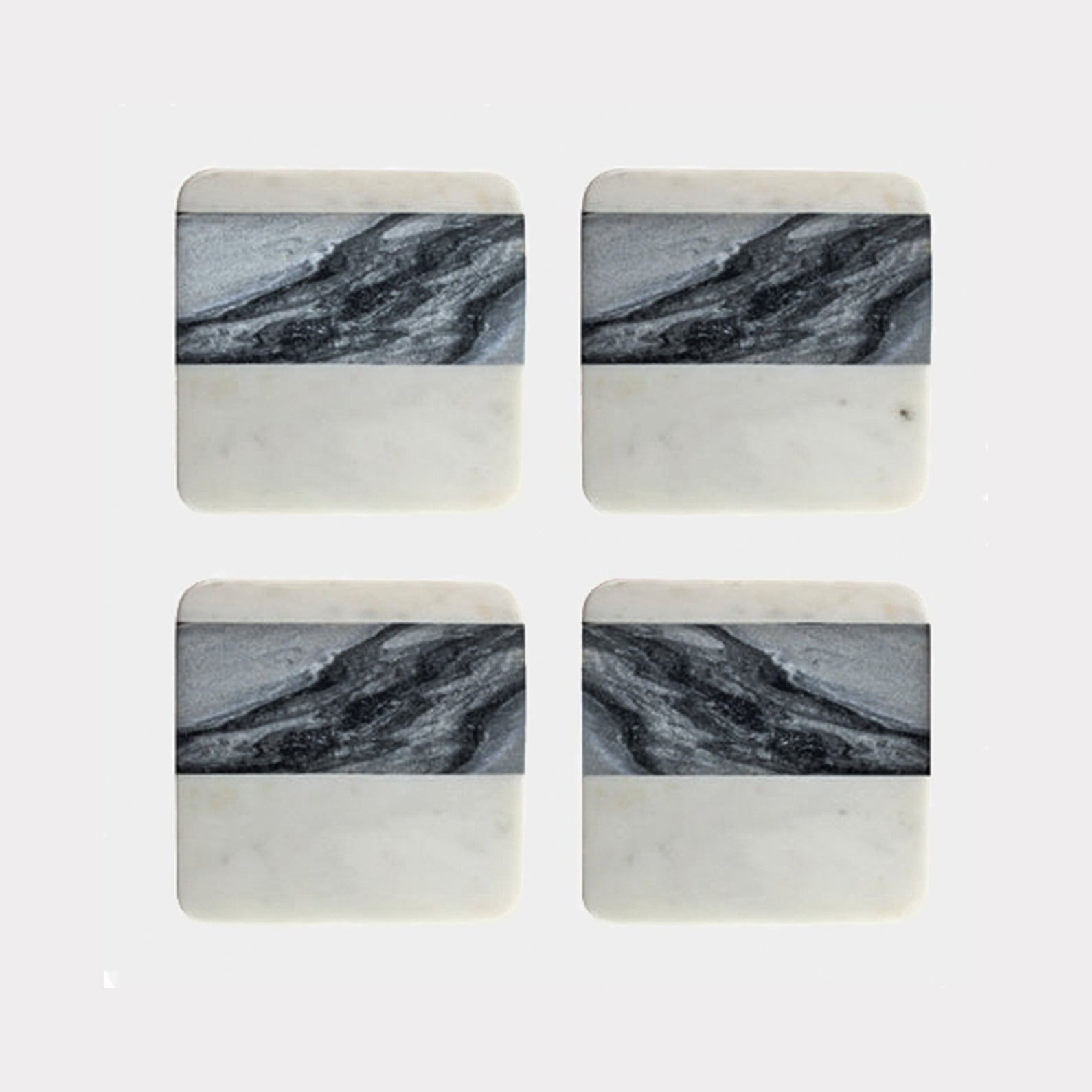 MALENA COASTERS (GREY AND WHITE MARBLE) - HUNTER & CO.