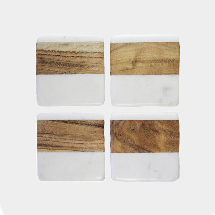 MALENA COASTERS (MARBLE AND WOOD) - HUNTER & CO.
