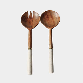 MARBLE AND WOOD SERVER SET - HUNTER & CO.