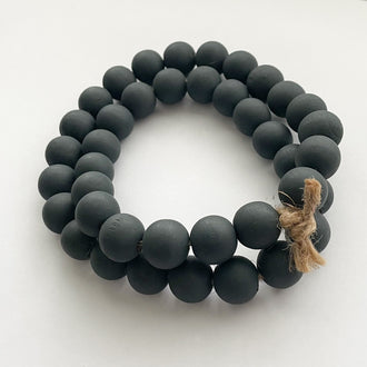CHARCOAL NAVY WOODEN BEADS