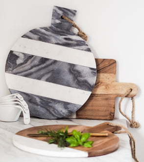 LEIGH ROUND MARBLE WOOD BOARD