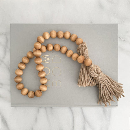 WALNUT WOODEN BEADS WITH JUTE TASSELS