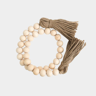 WHITE WASHED NATURAL WOODEN BEADS WITH JUTE TASSELS