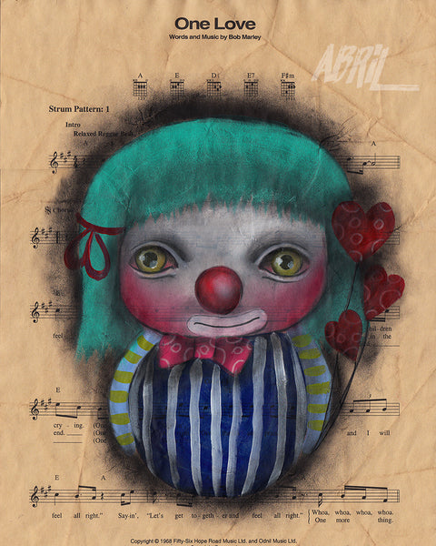 "One Love Clown 8x10"" Signed Print"