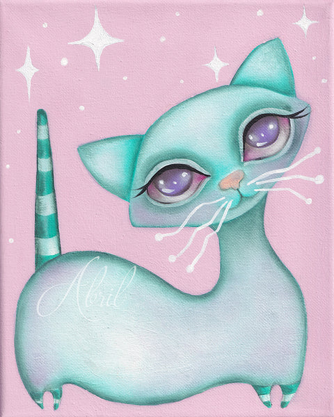 "Pink and white MCM Kitty  - 8x10"" Signed Print"