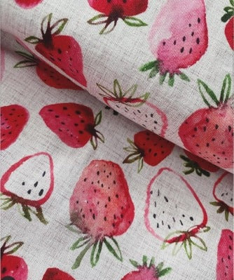 Fabric Watercolour Strawberries on Grunge Pink