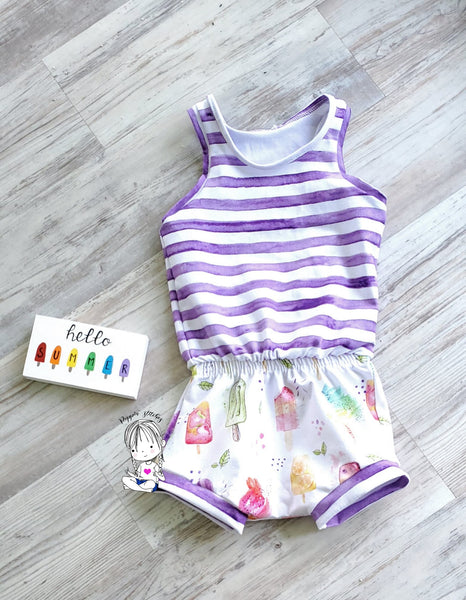 Watercolour Popsicles and Stripes Half and Half
