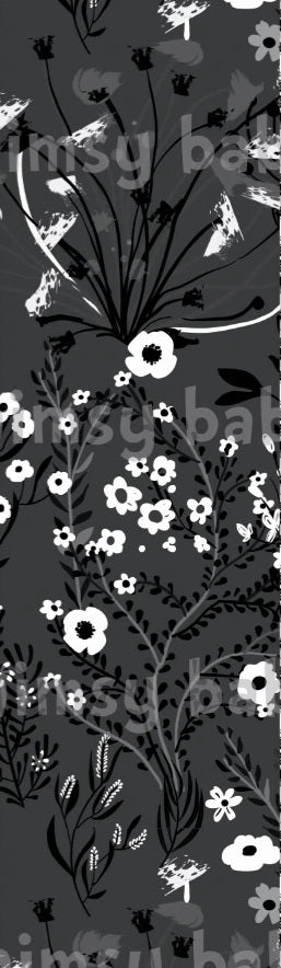 Monochrome Flowers White and black on dark grey