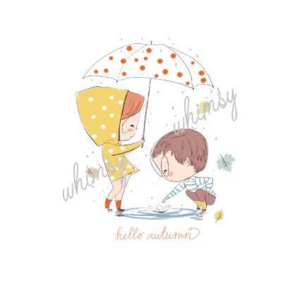 N670 A Perfect Autumn Day - Hello Autumn - Girl And Boy With Umbrella Child Panel