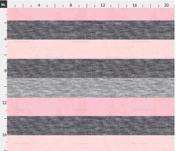 PUP PATROL PINK AND HEATHER GREY STRIPES CL