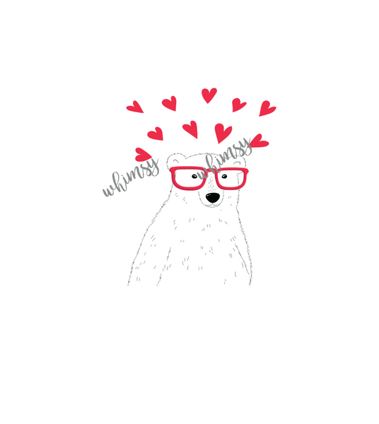 690 Valentine Bear with Glasses Child  Panel