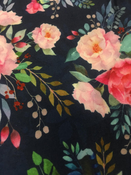 Fabric Pink Flowers on NAVY -  Cotton Lycra