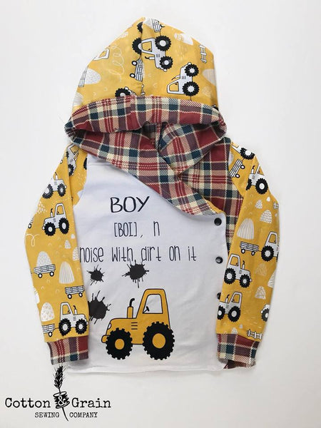 587 Boy Tractor Dirt Child Panel (on WHITE)