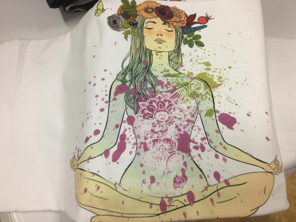 1104 Yoga Girl with Paint Splatter Adult/Romper Panel