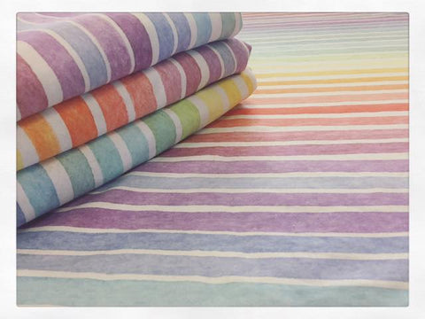 International Pastel Watercolour Stripes Rainbow (Puffin) Fabric