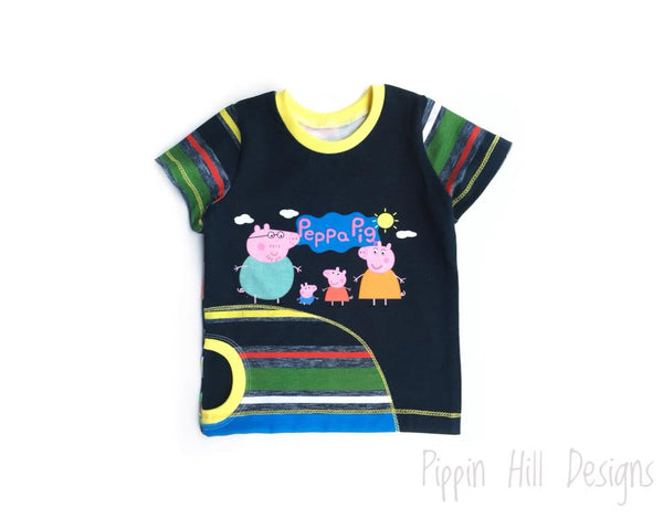 C050 Peppa Pig in a Airplane NAVY Child Panel