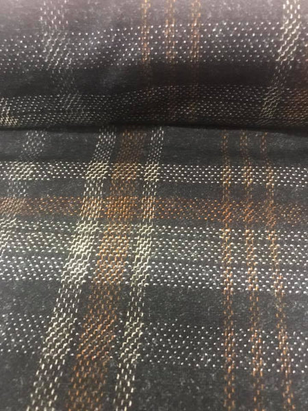 Grey and Mustard Tartan Plaid Fabric - French Terry