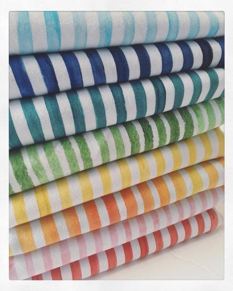 International Fabric Watercolour Stripes Teal