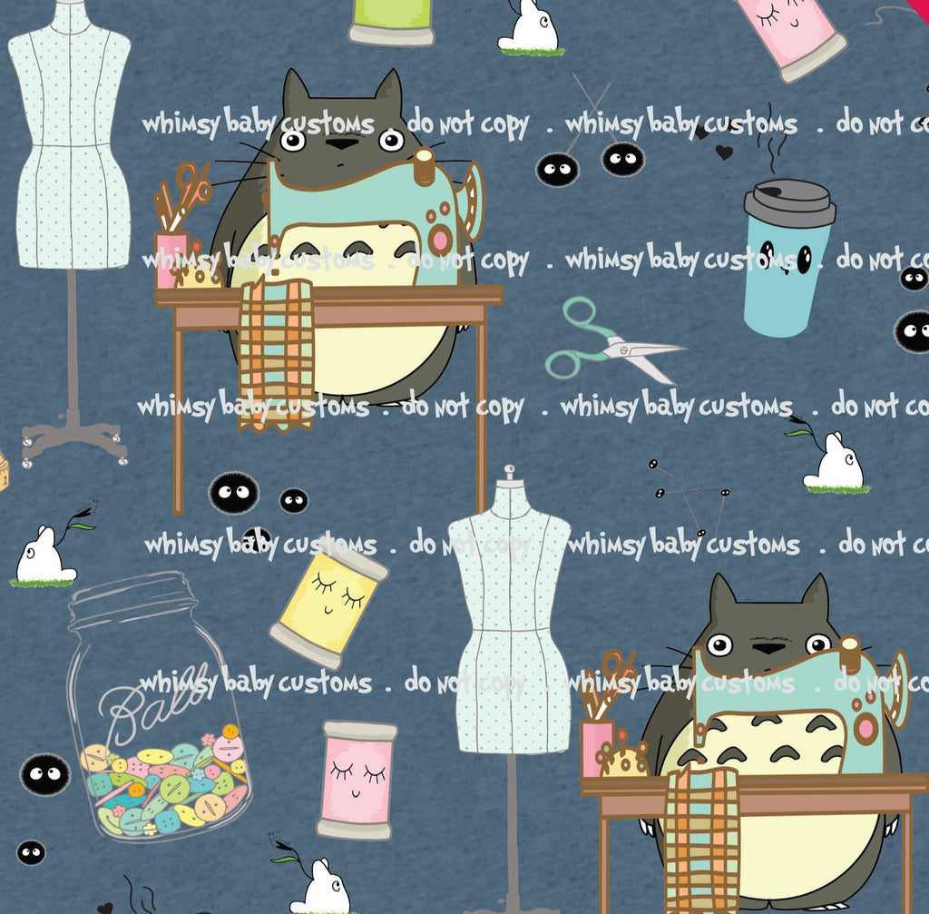 Fabric Totoro loves sewing on blue