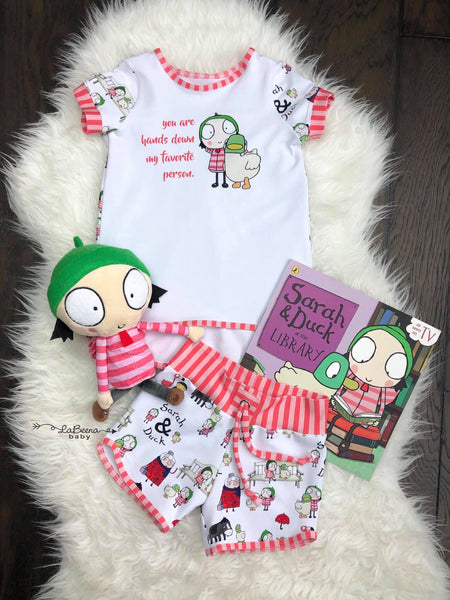 Rapport Sarah and Duck Favorite Person Red/pink Stripes on Whimsy FLUFF