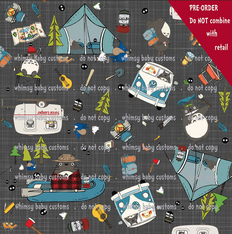 International - Fabric Totoro Loves Camping on Dark Grey