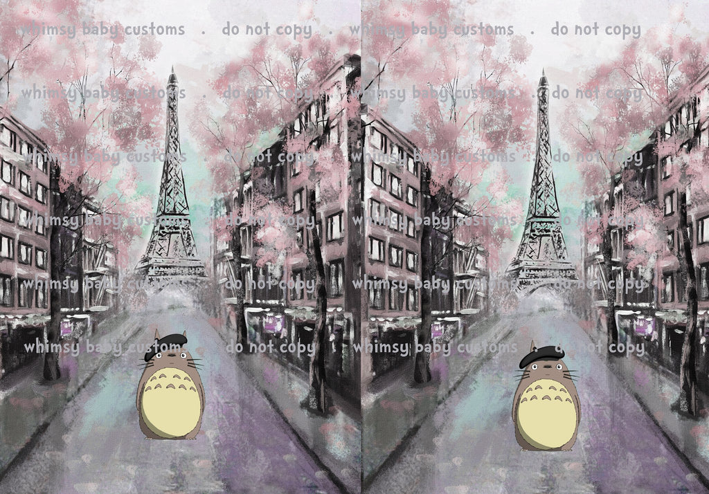 Cityscape Totoro with Cherry Blossoms in Paris