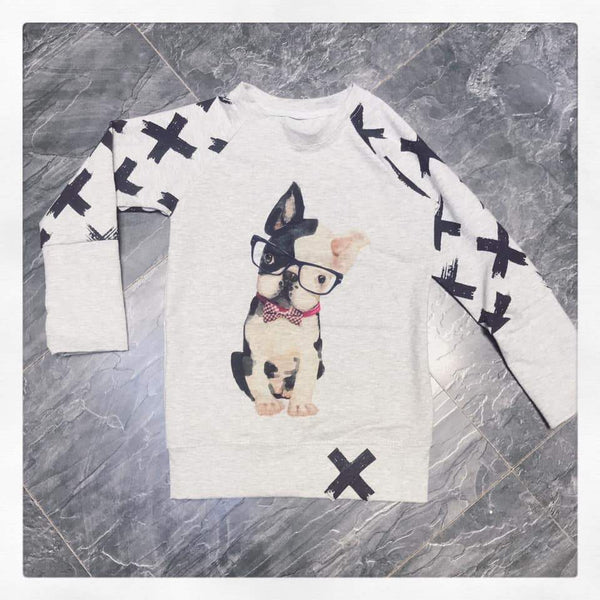 434 Hipster French Bulldog with Glasses Child Panel (on DARK GREY)