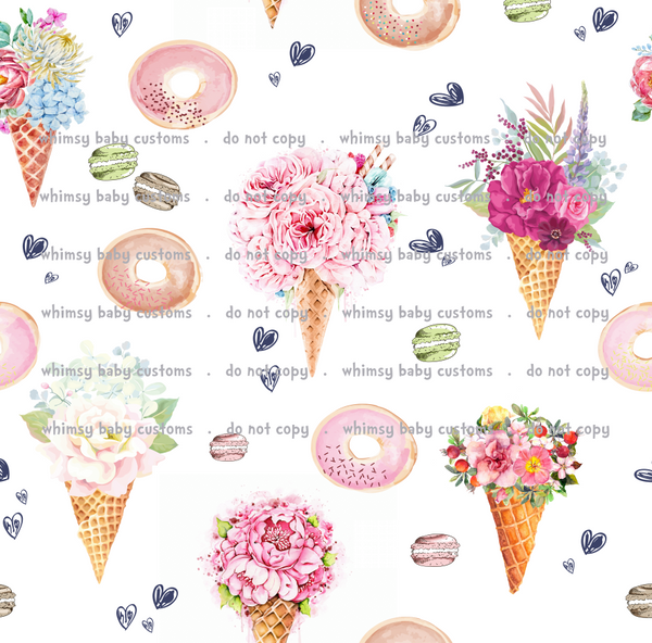 Fabric Itty Bitty Watercolor Ice cream and Doughnuts