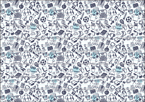 Sept/Oct Preorder - Fabric School Doodles Black and White