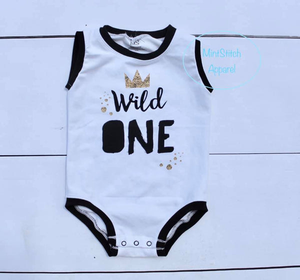 613 Wild One with Gold Glitter Crown Child Panel on White