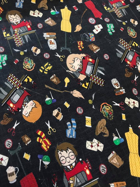 Harry Potter Loves Sewing on Black Grunge Fabric