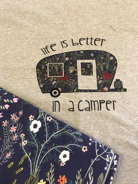 A1053H Adult/Romper Panel Life is Better a Camper on Heather