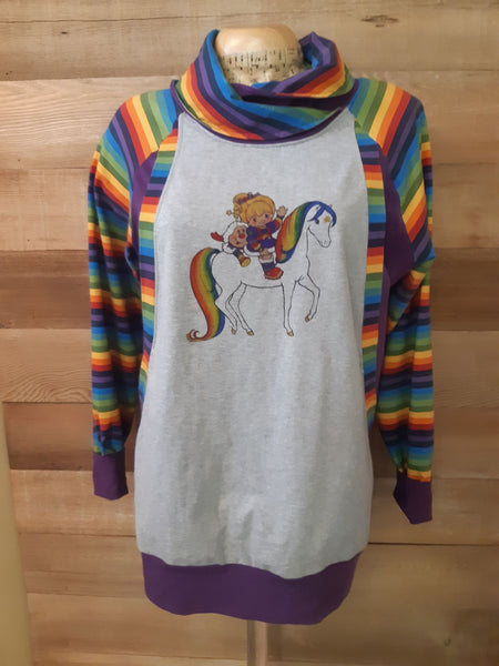 A1026H Adult/romper panel Rainbow Brite on Horse on HEATHER