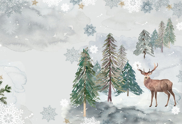 Fabric Cityscape Deer in Snow