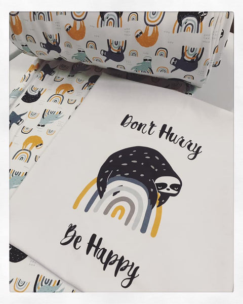A1071 Adult/Romper Panel Don't Hurry Be Happy Sloth