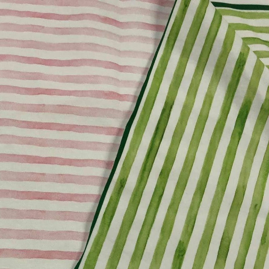 Fabric Pink and Green Watercolor Stripes Half and Half