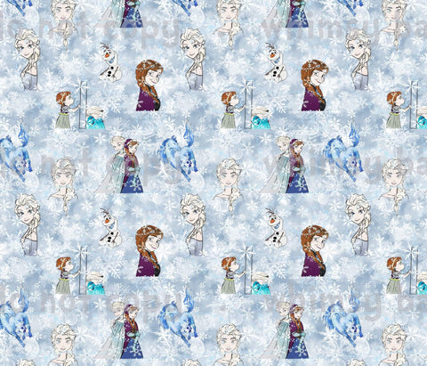 Fabric Cold Sisters Main Print with Snow Background ON FLUFF