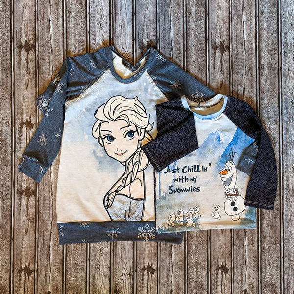 C253 Cold Sisters 2: Hand Drawn Ice Queen Profile / Side View Child Panel (Cotton Lycra) - C12