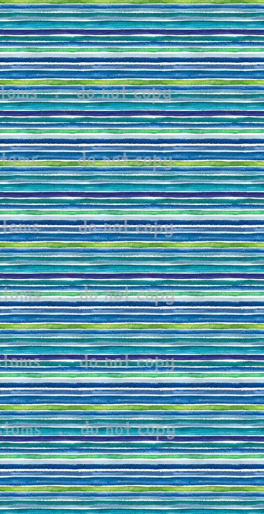Fabric Watercolor Blue Rainbow Stripes
