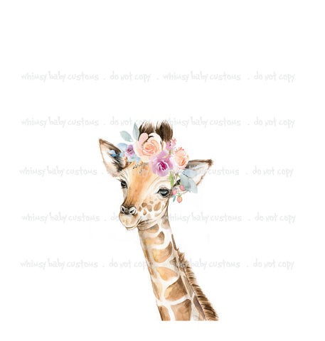 Adult/Romper Panel Floral Baby Giraffe