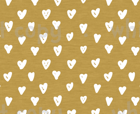 International - Fabric White Hearts on Mustard
