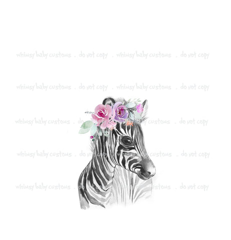 A1024 Adult/Romper Panel Watercolour Zebra with Tiara