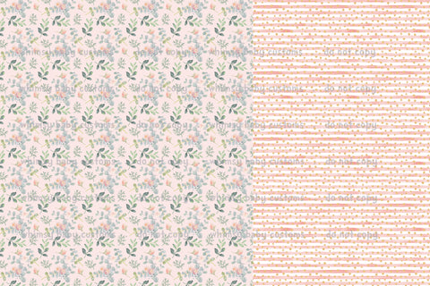 Fabric Pink Floral with Pink Stripes HALF and HALF