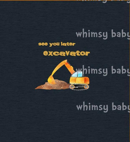Feb/March 2020 Preorder - Child Panel See you Later Excavator on Navy FAUX sweater knit