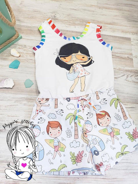 A Perfect Day At The Beach - Main Print and Stripes Half and Half - Girl