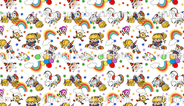 Fabric Rainbow Bright on White on COTTON LYCRA