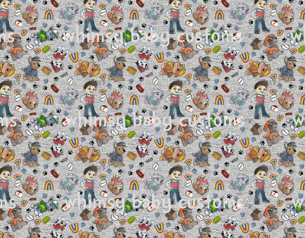 Fabric Paw Patrol Remixed on Faux Grey on Bamboo
