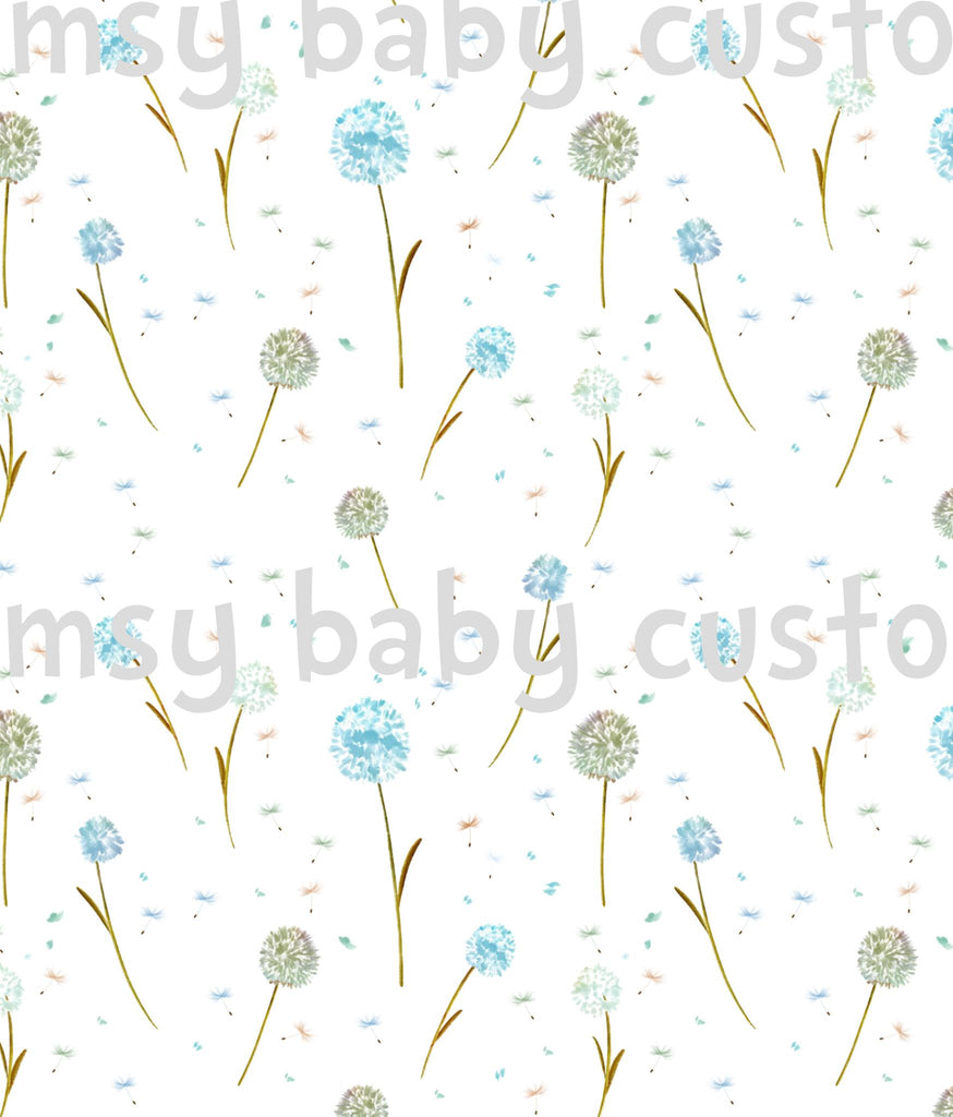 Fabric Watercolour Dandelions on COTTON LYCRA