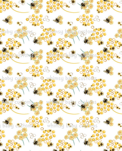 International - Fabric Honeybees on White on COTTON LYCRA