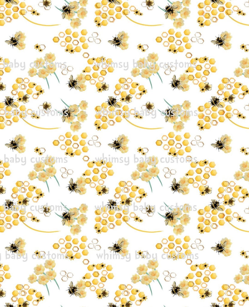 Fabric Honeybees on White on COTTON LYCRA